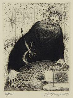 "asylum-art: "" Shin Taga (b. 1946, Hokkaido, Japan) - Yumesakai, 1985 Etchings """