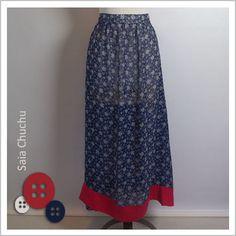 Saia Chuchu (Seda Azul) - Café Costura R$132,00
