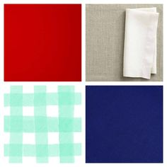 Gender neutral nautical nursery color palette in deep navy / indigo, mint / robin's egg blue, ruby red / coral branch, flax linen / taupe and white.