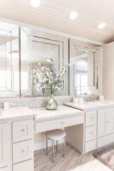 p/diy-master-vanity-double-vanity-with-makeup-area-white-master-bathroom-dunn-edwar - The world's most private search engine Master Bathroom Vanity, Small Bathroom, Paint Bathroom, Bathroom Gray, Mosaic Bathroom, Bathroom Closet, 3 Mirrors In Bathroom, Bathroom Fixtures, Bathroom Double Sink Vanities