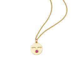 """Just like Prince said """"I just want your kiss""""! Show your significant other or a secret crush how you feel and wear your heart on your sleeve and your lovely kissing face around your neck.  Material: sterling silver gold-plated with Swarovski crystals  Measurements: the diameter of the pendant is approximately 1,5cm  Details: 55cm fine curb necklace with carabiner clasp (wearable in 45 and 55cm length)"""