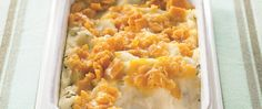 Whip up this easy potato side dish in no time, with instant mashed potatoes, cheese, and a no-fuss crunchy cracker topping.