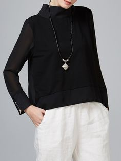 Shop Long Sleeved Tops - Black Casual High Low Zipper Long Sleeved Top online. Discover unique designers fashion at StyleWe.com.