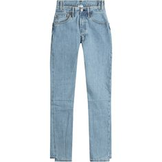 Vetements Reworked Straight-Leg Jeans (21,140 MXN) ❤ liked on Polyvore featuring jeans, pants, blue, tapered jeans, straight leg jeans, high waisted straight leg jeans, slim tapered jeans and blue denim jeans