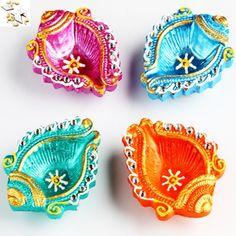 Colourful Shankh Diyas  with 500 gms kaju Katli - Online Shopping for Diyas and Lights by Ghasitaram Gifts