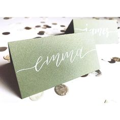 Sage green wedding place cards with calligraphy, wedding stationery, name cards, table decorations Sage green and white name cards calligraphy wedding place STEP-BY-STEP INSTRUCTIONS and PHOTOS to Knit a Bunny from a Sq. Wedding Name, Wedding Places, Wedding Venues, Wedding Ideas, Gold Wedding, Diy Wedding, Wedding Inspiration, Wedding Place Settings, Wedding Table Numbers