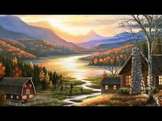 """Rustic Home Landscape Art Print - """"Evening Visitors"""" by Chuck Black Home Landscape Art, Landscape Sketch, Landscape Paintings, Landscape Pictures, Watercolor Landscape, Landscapes, Thomas Kinkade, Acrylic Painting Canvas, Canvas Art Prints"""