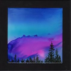 "Original Alcohol Ink Ceramic Tile - 6""x6"" Hand Painted-Blue and Purple sunset with a line of trees- by LindaFlynnStudio on Etsy https://www.etsy.com/listing/208813834/original-alcohol-ink-ceramic-tile-6x6"