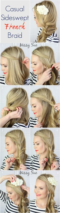 Casual Sideswept French Braid
