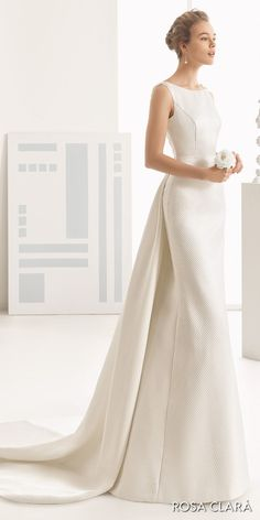 rosa clara 2017 bridal sleeveless bateau neckline simple clean elegant sheath wedding dress open low back chapel train (navas)  fv