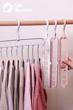 Space Saving Clothes Hanger 😍 Perfect for shirts and t-shirts to take up less space. Space Saving Hangers, Macrame Plant Hangers, Home Gadgets, Room Closet, Closet Organization, Organization Ideas, Organizing, Diy Arts And Crafts, Clothes Hanger