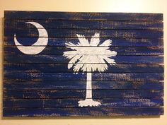 """Handmade Palmetto Flag -- Hand Painted South Carolina Flag--12"""" x 18"""" South Carolina Flag, South Carolina Homes, Clemson Flag, Clemson Tigers, Southern Girls, Southern Style, Southern Charm, Country Charm, Palmetto Tree"""