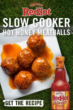 Save your Sunday game day with these slow-cooker meatballs. Frank's RedHot Buffalo Wings Sauce and honey do the work, resulting in a sweet and spicy snack that maximizes time with your team and minimizes time in the kitchen. Tap the pin and grab our Slow Cooker Hot Honey Meatball recipe for your next tailgate!