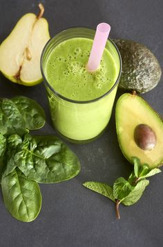 Packed with Vitamin K and Potassium, this green drink is made with spinach, fresh mint, avocado, pear, and coconut water.