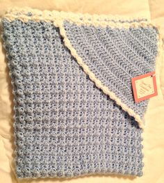 Hooded Baby Blanket Crochet baby blue with by sweetpeacompany