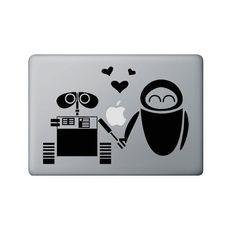 Wall-E and Eve.  :-) Wall E Eve, Macbook Decal, School Shopping, Nerdy, Decals, Geek Stuff, Disney Princess, Random, Handmade Gifts