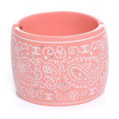 CHANEL Resin Diamante Wide Bracelet Cuff Pink