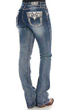 Grace in LA Women's Dark Wash with Aztec Embroidery Boot Cut Easy Fit Jeans Cut Jeans, Jeans Fit, Kevlar Jeans, Cowgirl Jeans, Riding Outfits, Cute Outfits For School, Birthday Wishlist, Number 3, Boots