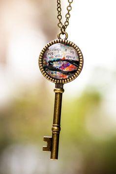 Wild Spirit Key Charm Boho Key Pendant Necklace by LadyArtTalk