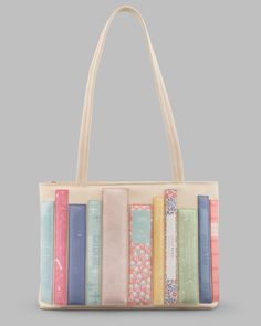 Bookworm Library Cream Leather Ladies Shoulder Bag By Yoshi. Womens Handbag With Book Appliques. A Perfect Gift And Present For Any Author, Writer, Keen Reader.