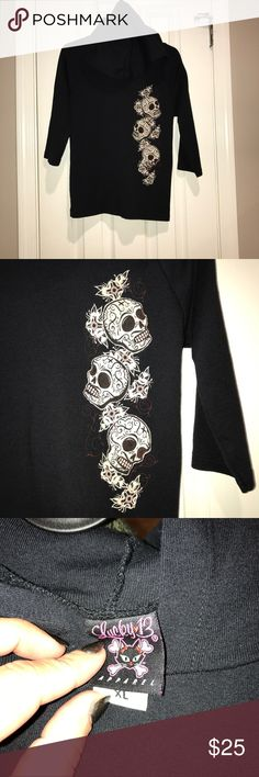 Lucky Thirteen quarter  sleeve Skull hoodie Very rare! Fits super super slim! Great quarter sleeve lucky thirteen Hoodie **Shop my closet and bundle to save more, reasonable offers considered. Sorry not trading at this moment ** lucky thirteen Tops Sweatshirts & Hoodies