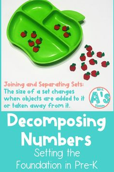 Decomposing numbers is one of the most important math concepts for kiddos to grasp as they get older. And we can do a LOT to set the foundation for them in our pre-k classrooms! Teaching Numbers, Numbers Kindergarten, Preschool Math, Counting For Kids, Counting Activities, Number Activities, School Projects, School Ideas, Math Tubs