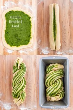 A freshly baked breaded loaf bread filled with delicious matcha filling. It is o… A freshly baked breaded loaf bread filled with delicious matcha filling. It is one of the best ways to enjoy quality matcha. Loaf Bread Recipe, Bread Recipes, Baking Recipes, Dessert Recipes, Matcha Bread Recipe, Roti Recipe, Braided Bread, Bread Bun, Matcha Dessert