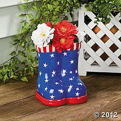 Patriotic Boots Planter $14