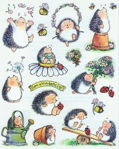"Penny Black sticker sheet - hedgehog, ladybug, bumblebee, flowers - ""A Bunch of Love"""