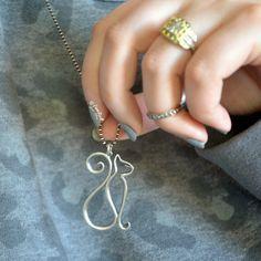 Lanie Buck: Letters A to Z: Hand Cast in the USA with Eco-Mindful Silver Kicksta. - Lanie Buck: Letters A to Z: Hand Cast in the USA with Eco-Mindful Silver Kickstarter and Affinity R - Wire Jewelry Designs, Cat Jewelry, Animal Jewelry, Jewelry Patterns, Jewelry Crafts, Beaded Jewelry, Gold Jewellery, Jewlery, Silver Jewelry