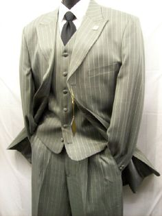 Stacy Adams Grey Pinstripe Moon Vested Zoot Suit 4017-021