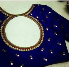 Blouse back neck designs - The Handmade Crafts Saree Blouse Neck Designs, Simple Blouse Designs, Stylish Blouse Design, Easy Designs, Mirror Work Blouse Design, Mirror Work Saree Blouse, Maggam Work Designs, Designer Blouse Patterns, Making Ideas