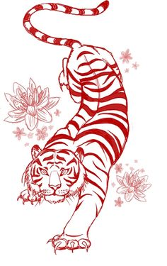 Tiger Tattoo Flash-Art Commission by megantoy on DeviantArt Flash Art Tattoos, Up Tattoos, Trendy Tattoos, Foot Tattoos, Forearm Tattoos, Body Art Tattoos, Tattoo Drawings, Tattoos For Guys, Symbol Tattoos