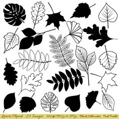 Leaves Clipart Clip Art Leaf Silhouette Clipart Clip by PinkPueblo, $6.00