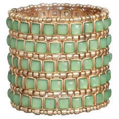 Ingenious Gold Stretch Cuff With Squares - Green found on Polyvore