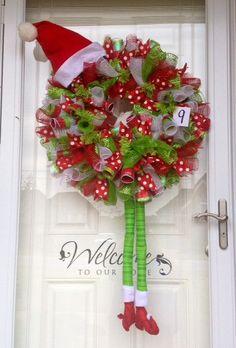 Christmas Elf Curly Mesh Ribbon Wreath by TheCrazyWreathLady, $95.00
