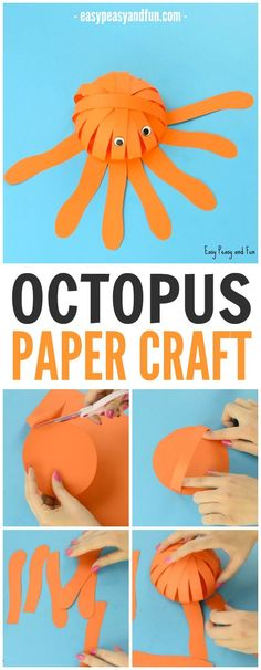 Simple Paper Octopus Craft - Summer Crafts for Kids - Easy Peasy and Fun Sea Animal Crafts, Sea Crafts, Animal Crafts For Kids, Summer Crafts For Kids, Paper Crafts For Kids, Crafts For Kids To Make, Craft Activities For Kids, Camping Activities, Creative Activities