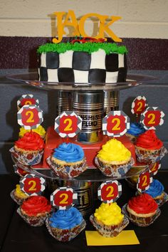 Cars Themed Birthday Cake (Tower View)