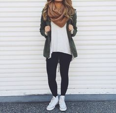 School outfits 2016 - - outfits with converse, cute legging outfits Cute Outfits With Leggings, Legging Outfits, Cute Leggings, Outfits With Converse, Cute Fall Outfits, Fall Winter Outfits, Autumn Winter Fashion, Casual Outfits, Fall Fashion