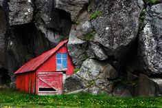 Barn built in to the rocks
