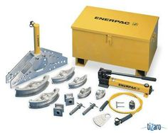 ENERPAC STB101H. Hydraulic Pipe Bender Material Mild Steel Size Range 1/2 to 2 In Bend Radius 2 7/8 to 7 5/16 In Maxe Pressure 10 000 PSI Bends High Pressure/Temp Tubing Hydraulic Gas Steel Aluminium and Brass Pipes Includes Bender Frame 2 Pivot Pins 2 Pivot Shoes 1/2 3/4 1 1 1/4 1 1/2 and 2 In Shoes 6 FtHose 4Z487 Cylinder 6W462 Hand Pump and Steel Storage Box