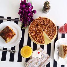 #lunch #rainbowthursday #accordingtosupergirl beefa lasagna + orange juice + almond salted caramel cake + pink guava    to shop: coconut & vanilla scented elephant soap, clothbound notebook by @theflatabovefoodsbury