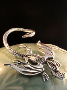 Silver Dragon Necklace  Balerion Dragon Pendant  by martymagic