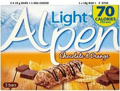 Alpen bars Slimming World Healthy Extras, Slimming World Syn Values, Slimming World Syns, Slimming World Recipes, Chocolate Orange, Crackers, Fill, Food And Drink, Healthy Eating