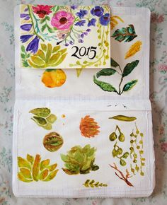 Botanical watercolors - withcraftsandlace