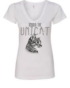 b3d71ffc3 Behold the Unicat Women s V-Neck T-Shirt Funny Cat Unicorn Pop Culture Weird