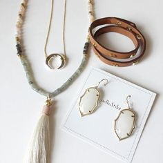 Spring is Dreamy | New Arrivals from Stella&Dot | Luna Pendant, Antonia Tassel Necklace, Amala Earrings, Chevron Leather Wrap