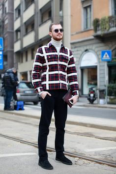 Next-level geometric. Photographed by Victoria Adamson #refinery29 http://www.refinery29.com/mens-fashion-week/street-style#slide-26