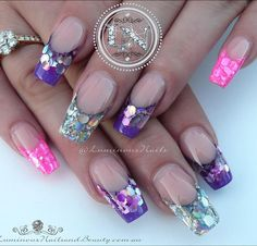 """""""Violet Candy, Hot Pink & silver Refections  Sculptured Acrylic with @glitter_heaven_australia Aphrodite & Broken Mirrors, @glitterblendz Pastel Pearl…"""""""