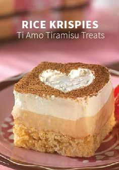 Rice Krispies Ti Amo Tiramisu Treats -- Fluffy layers of vanilla- and espresso-flavored cream top crispy little cakes in what is sure to be a new all-time favorite, lovey-dovey dessert. Your favorite dessert improves with a crunchy Rice Krispies layer. Cereal Cookies, Cereal Treats, Rice Cereal, Kashi Cereal, Paleo Cereal, Quinoa Cereal, Bran Cereal, Healthy Cereal, Granola Cereal